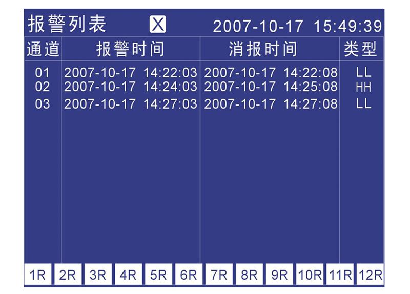 MIK-R4000D记录仪报警列表