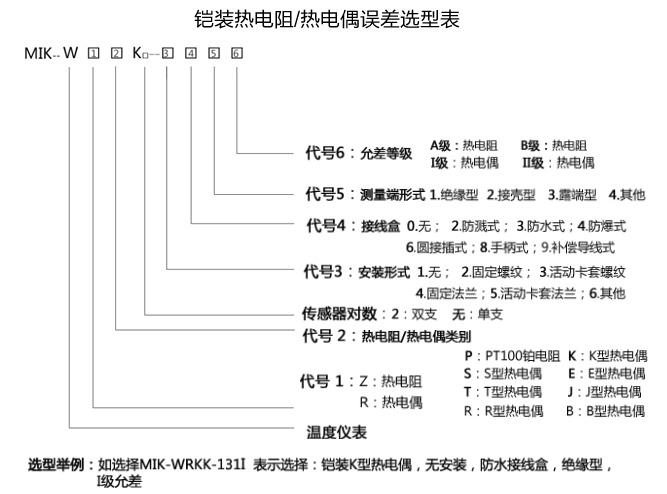 铠装温度传感器选型表
