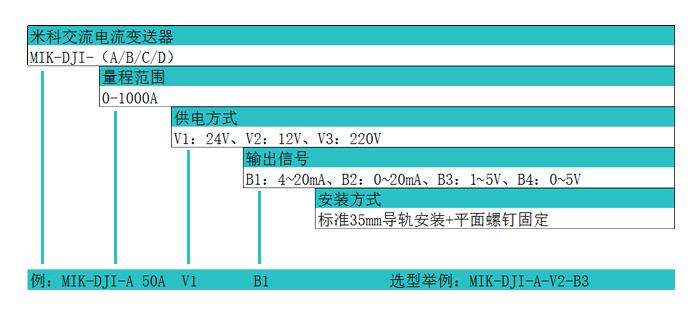 米科MIK-DJI-C 0~400A 穿孔式交流电流变送器产品选型