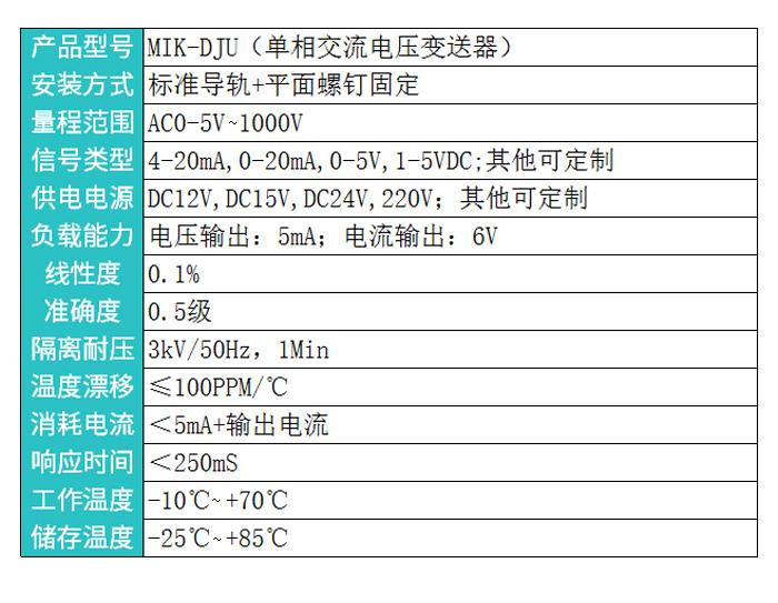 米科MIK-DJU交流电压变送器产品参数
