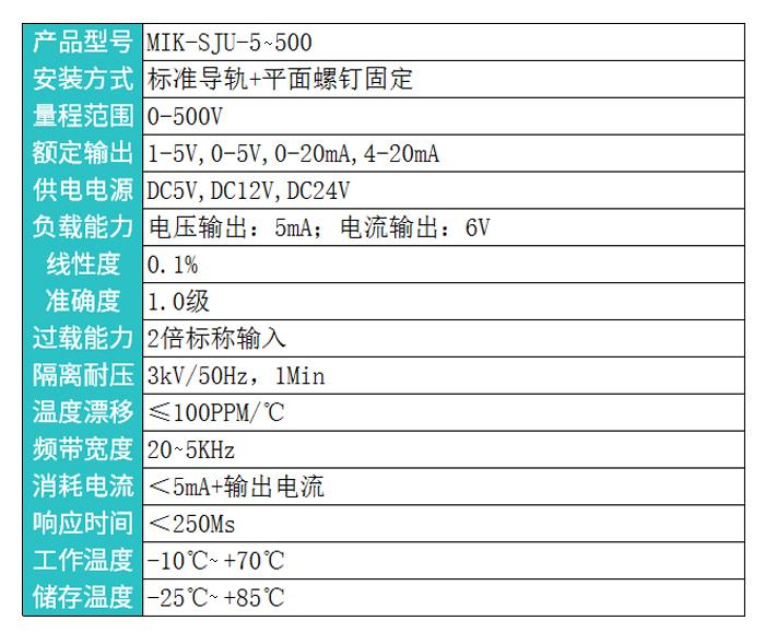 米科MIK-SJU三相交流电压变送器隔离电压传感器产品参数