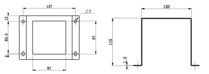 米科余氯控制器安装件尺寸图