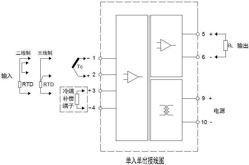 单入单出温度隔离器接线图