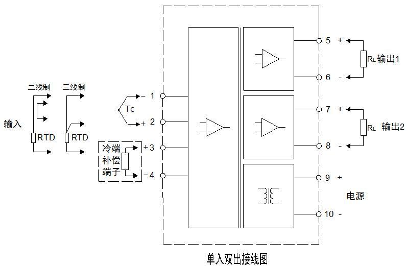 单入双出温度隔离器接线图
