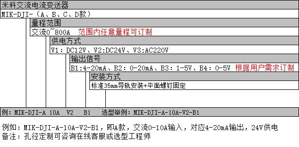 米科交流电流变送器选型表