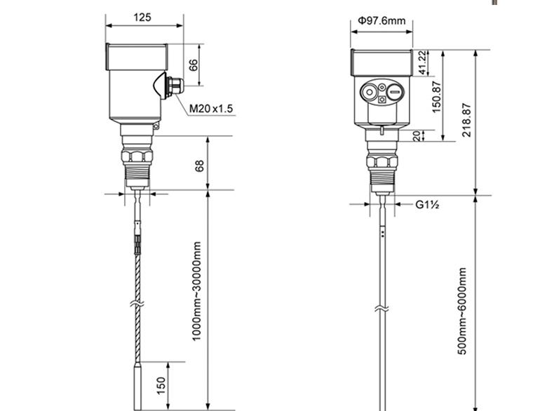 MIK-RD701导波雷达物位计尺寸